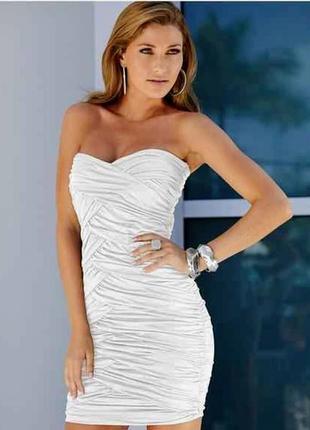 Женское клубное вечернее нарядное белое короткое платье бюстье...