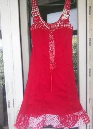 Женское платье нарядный сарафан красный летний  шнуровка домашний