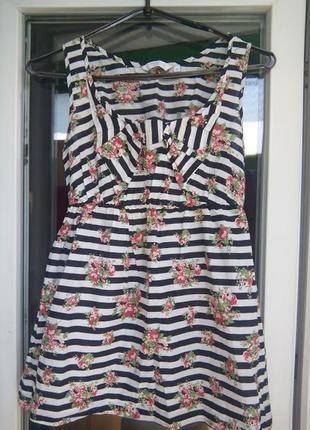 Женская блуза в полоску / туника в цветочек / полосатый топ бе...