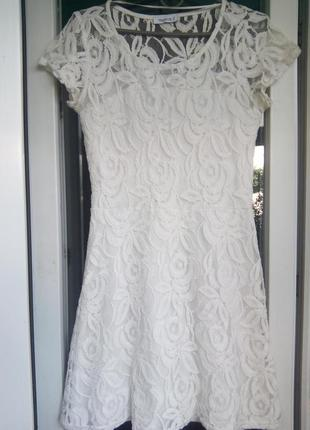 Кружевное нарядное белое платье yessica c&a красивая спина гип...
