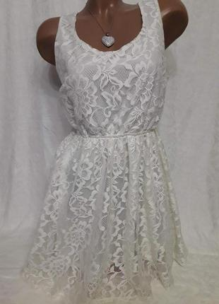 Летнее кружевное нарядное платье сарафан с открытой спиной гип...