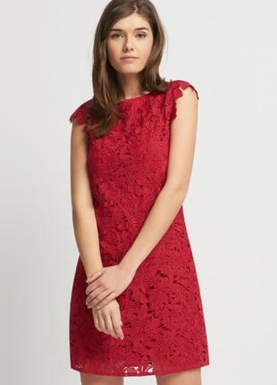 Женское  красное нарядное вечернее кружевное платье finn&clove...