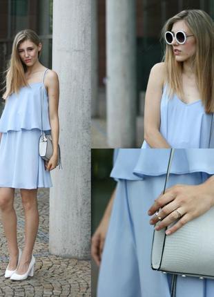 Голубое нарядное шифоновое платье сарафан на бретелях atmosphe...