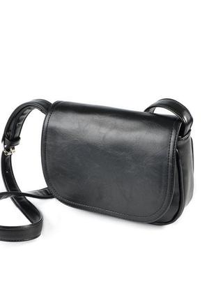 Женская черная сумка кроссбоди через плечо с динными ручками к...
