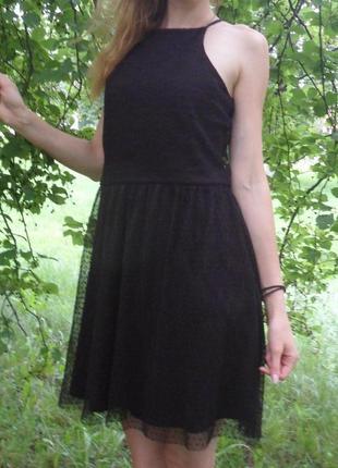 Вечернее нарядное черное платье гипюр фатин на тонких бретелях...