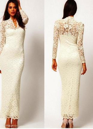 Свадебное платье. стрейч-гипюр. длинный рукав. 44-46-48р.