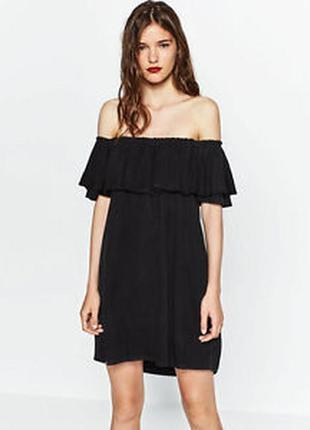Atmosphere платье с воланом с кружевом s m размер открытые плечи