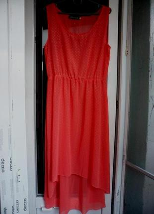 Летнее коралловое платье сарафан миди coolice шифоновое\ на мо...