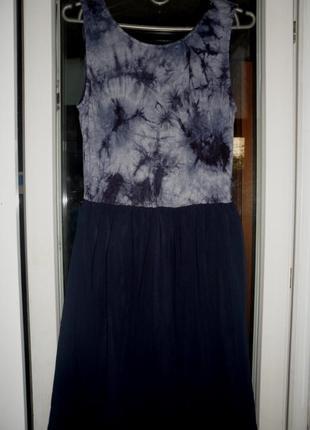 Синее вечернее платье сарафан ax paris в принт с открытой спин...