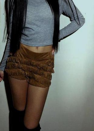 Женские короткие летние замшевые велюровые кожаные шорты с бах...