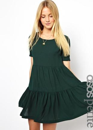 Изумрудное зеленое платье прямой крой asos с рукавом оборкой м...