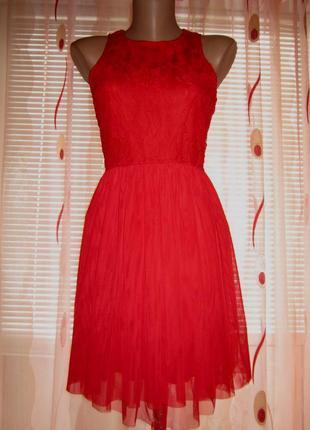 Женское вечернее нарядное кружевное гипюровое красное платье ф...