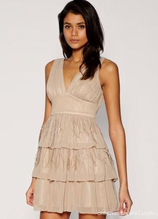 Вечернее нарядное платье с перьями пышное выпускное lipsy с во...