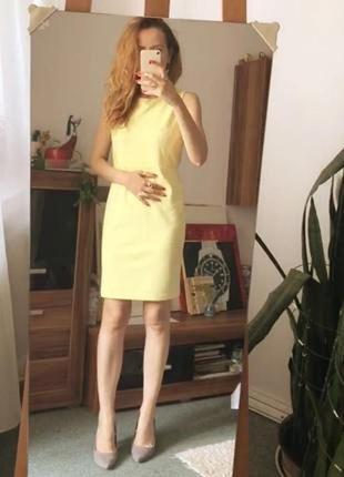 Нарядное лимонное желтое платье h&m с кружевом трикотажное футляр