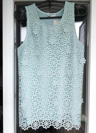 Кружевная мятная зеленая блуза майка george
