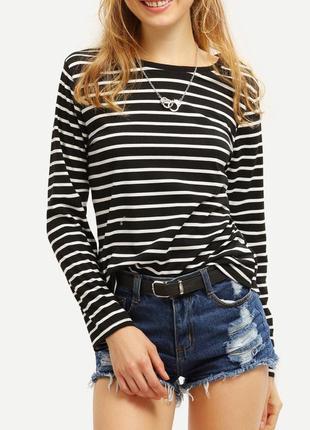 Полосатый черный белый реглан футболка кофта esmara с длинным ...