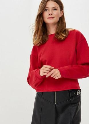 Женский красный фактурный свитшот кофта пуловер rainbow демисезон