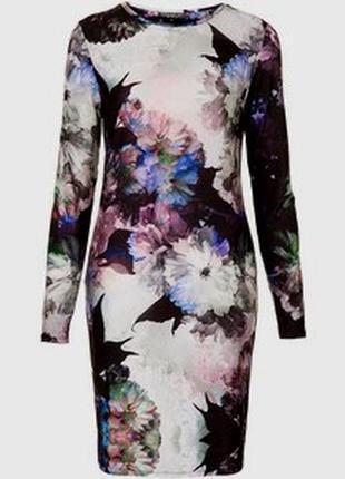 Платье topshop petite в принт цветы с рукавом облегающее