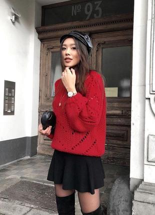 Женский красный свитер h&m вязаный пуловер тёплый джемпер деми...