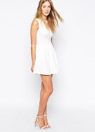 Женское нарядное вечернее белое платье zara trafaluc молния бе...