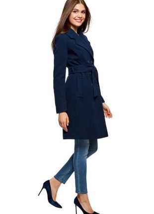 Женское шерстяное демисезон осень весна темно - синее пальто с...