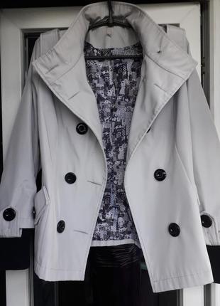 Женский двухбортный короткий серый плащ куртка тренч весна осе...