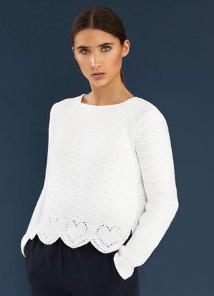 Оверсайз белый вязаный пуловер свитер marks & spencer хлопковы...