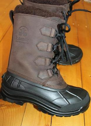 38-39 разм. kamik waterproof ботинки зима. нубукова кожа.