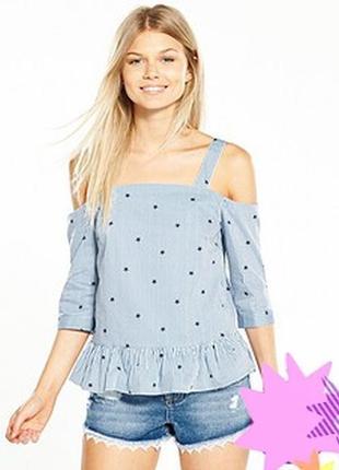 Miss selfridge petite топ блузка разрезы открытые плечи в поло...