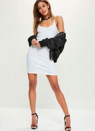 Фактурное рубчик белое платье тонкие бретели вечернее нарядное...