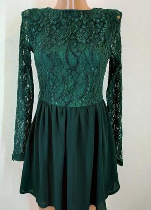 Изумрудное зеленое платье missguided нарядное вечернее гипюр ш...