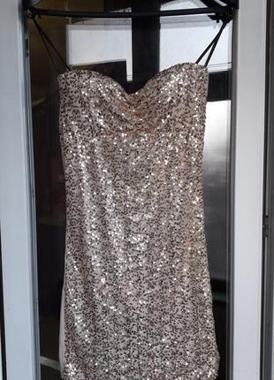 Женское короткое нарядное вечернее платье в пайетки ххс хс на ...