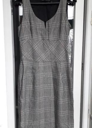Zara woman теплое шерстяное платье миди в принт клетка футляр ...