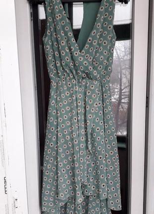 Нарядное шифоновое платье сарафан на запах цветы ассиметричное...