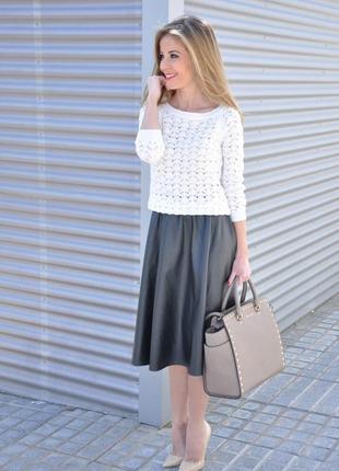Atmosphere белый молочный ажурный пуловер джемпер кофта длинны...