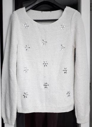 Женский george белый молочный пуловер джемпер вязаный с украше...