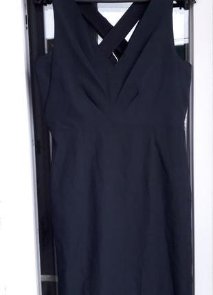 Zara basic dress синее нарядное вечернее платье футляр с переп...
