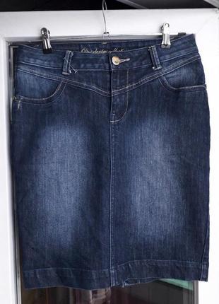 Женская oltre джинсовая синяя юбка по фигуре с разрезом