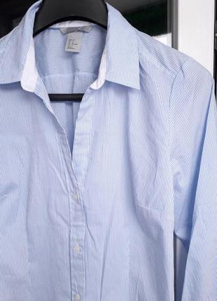 Женская h&m голубая рубашка в принт полоску блузка длинный рукав