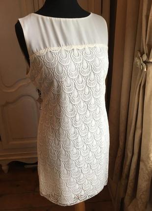Principles ben de lisi dress кружевное молочное белое платье н...