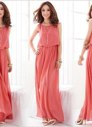 Ruiyige длинное макси коралловое платье сарафан нарядное s m