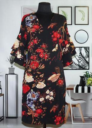 Quiz черное нарядное платье в принт цветы птицы рукав клеш вол...