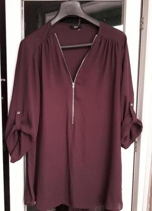 F&f блузка шифоновая рубашка винный марсала молния длинный рук...
