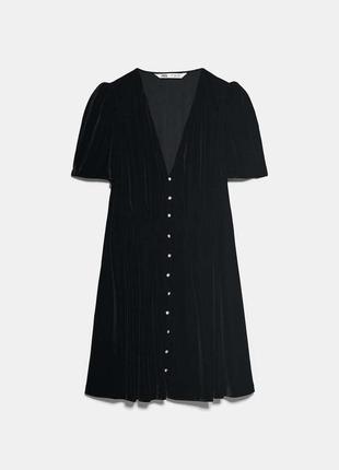 Мини платье из бархата zara