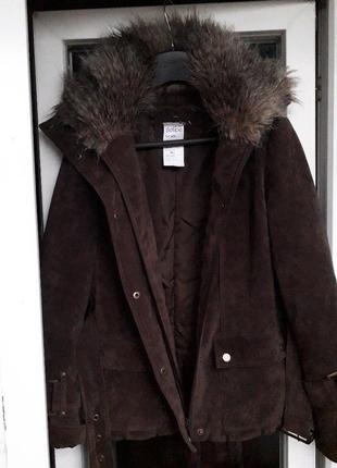 Principles женская  коричневая куртка дубленка с мехом демисез...