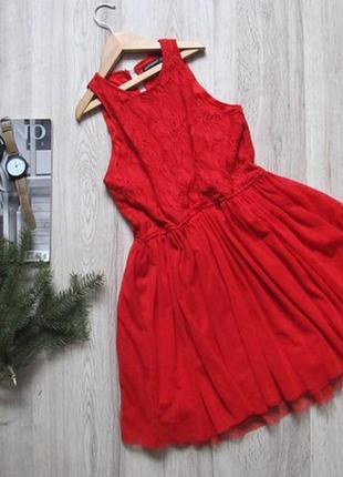 Вечернее кружевное красное платье фатин atmosphere