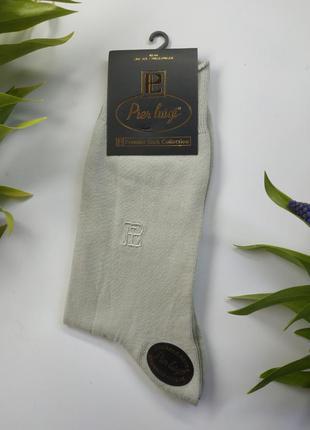 Однотонные хлопковые мужские носки  pier luigi буква