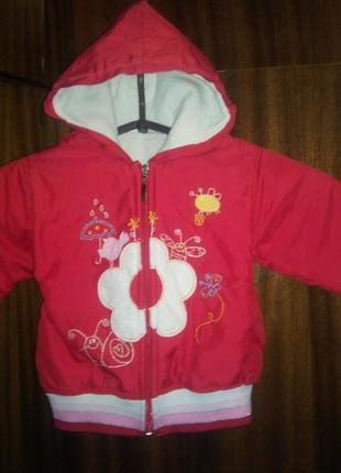 Куртка на девочку демисезон осень весна 1 2 года с вышивкой