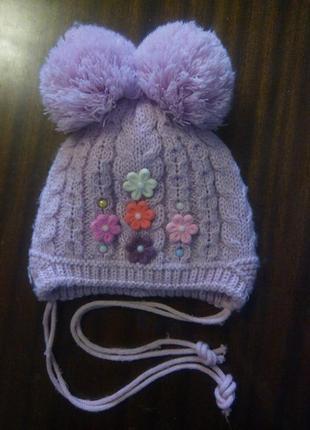 Зимняя шапка теплая девочке 1 2 года
