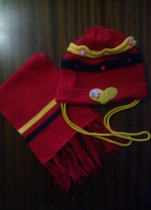 Шапка с шарфиком двойная осень -весна
